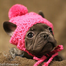 Handmade Crochet Pet Clothes Small Dog Breed French Bulldog Hat Beanie Dress Up