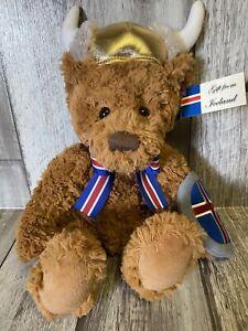 "Russ 13"" Teddy Bear Plush wearing Viking Helmet & Shield Iceland Stuffed Animal"