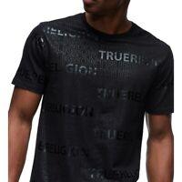 True Religion Men's Tonal All-Over Type Tee T-Shirt in Black/Black