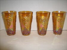 4 Indiana Glass Tumblers Water Marigold Amber Gold Carnival Harvest Grape 5.75""