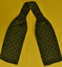 """Fab Hermes of Paris Silk Ascot w Navy Starburst on Olive Green"""