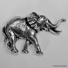 Elephant Pewter Brooch Pin - British Artisan Signed - African Asian Elephant