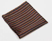 Bijan Beverly Hills Navy/Orange Striped Hand Rolled Silk Pocket Square