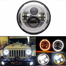 "7"" Inch 40W Round LED Headlight Halo Angle Eyes For Jeep Wrangler JK LJ 97-2015"