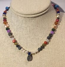 """Religious Cross Brand Necklace Multi Colored Bead Adjustable 15-18"""" Reversible"""