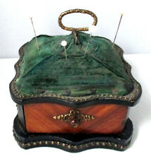 HEAVY solid WOODEN DESK TOP PIN CUSHION w/ drawer & stud trim ANTIQUE c1800