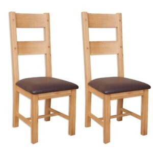 Dining Chairs Pair Natural Oak