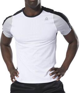 Reebok Smartvent Move Mens Training Top White Short Sleeve Gym Workout T-Shirt