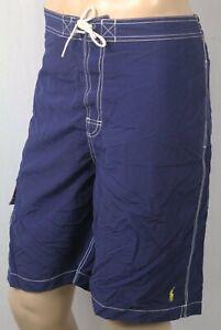 Polo Ralph Lauren Navy Blue Swimsuit Trunks Shorts Yellow Pony NWT