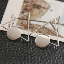 New Women's Triangle Geometric Earrings Stud Plated Punk Style