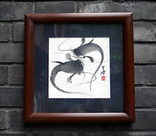"Chinese small painting framed Catfish Fish birds flowers 12x12"" brush ink art"