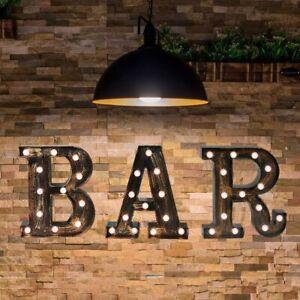 Industrial BAR Sign Led Illuminated Wall Letters Light Up Bar Decor Golden Black