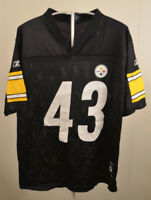Reebok Pittsburgh Steelers Jersey #43 Troy Polamalu Kids Large (14-16) Black NFL