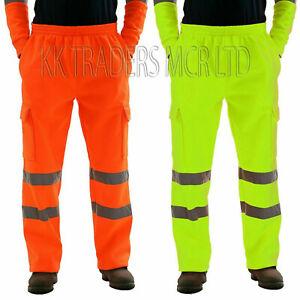 Mens Work Hi Viz Vis  Fleece Bottoms Safety Sweat Pants Jogging  Joggers Trouser