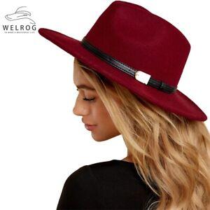 Fedora Hat Men Women Jazz Hat Wool Felt Belt Wide Brim Panama Fashion Cowboy Hat