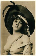 Bulgaria Busty Woman W New ha & Big boobs/sombrero & dekolletée * 1900s photo PC