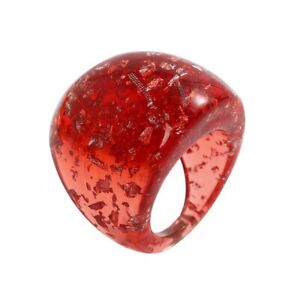 COCKTAIL LUCITE LIKE RESIN PLASTIC RING HANDMADE RED SIZE 7.5 USA SHIPPING