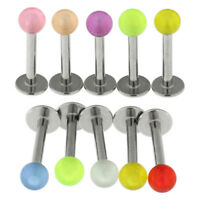 10 Pieces Pack of UV Glow in the Dark Balls Lip Labret Tragus Piercing Jewellery