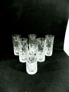 """6 Rogaska Crystal Gallia Tall Highball Glasses Tumblers 6 3/4"""""""