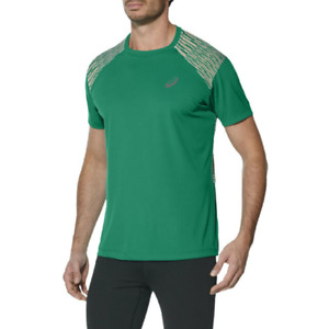 Asics Men's Running Top FuzeX Short Sleeve Sports Top - Jungle Green - New