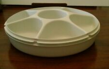 Vintage Tupperware Vegetable Tray Divided-Off White- USA-used