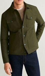 Mango Mens Khaki Textured Cotton-Blend Jacket - Size M , BNWT