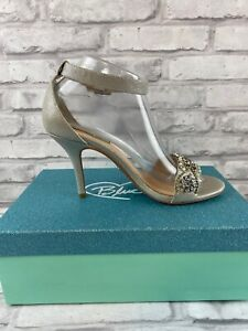 Blue Betsey Johnson Women's Shoes Heels  Size 8.5 Silver Ginaw Rhinestones