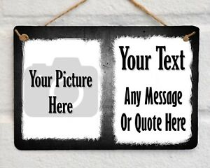 Personalised PHOTO PLAQUE Metal Sign Hanging Gift Your Picture & Text