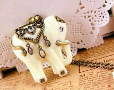 Pendentif Style Vintage Eléphant Ajay Couleur Blanc Ivoire Strass Crystal Métal