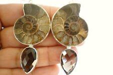 Fossil Ammonite Smoky Quartz 925 Sterling Silver Dangle Drop Earrings