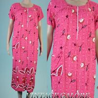 Vintage shift summer short sleeve Pink floral Rayon tunic Hawaiian dress Sz L