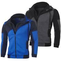 Men's Warm Hoodie Hooded Sweatshirt Coat Jacket Outwear Jumper Winter Colorblock