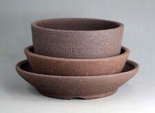 Tokoname Sand Rich Clay Bonsai Pot 3 pcs set by Yamahan, #a4370, D209-155mm