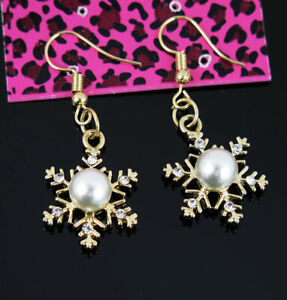 Betsey Johnson snowflake Crystal pearl Dangle Drop Gold Earrings Lady Jewelry