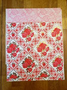 Vintage 50s 60s Pink, Gold & Lacey Floral Girly Wrapping Paper Sheets Loose