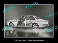 OLD LARGE HISTORIC PHOTO OF 1962 DODGE LANCER 770 LAUNCH PRESS PHOTO