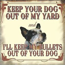 KEEP YOUR DOG OUT OUTDOOR SM GATE SIGN FUNNY BAR SIGN MAN CAVE GIFT PET