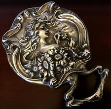 HE LOVES ME~UNGER BROS Sterling Silver HAND MIRROR~VICTORIAN NOUVEAU 5.3 OZ