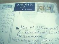 postcard used stamped franked airmail australia $1.05 sydney long card f1g