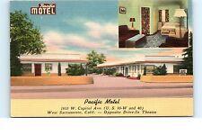 California Postcard Pacific Motel W Sacramento CA Opposite Drive-In Capitol Ave