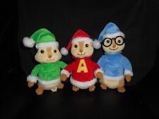 TY ALVIN & THE CHIPMUNKS THEODORE SIMON CHRISTMAS HATS STUFFED ANIMAL PLUSH TOY
