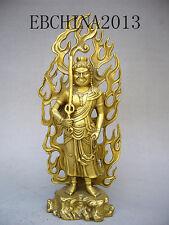 "11""Tibetan Brass handwork Buddha dragon Sword Fudo Myoo Statue Acalanatha"