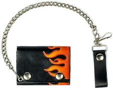 SIDWAYS FLAMES TRI FOLD BIKER WALLET With CHAIN mens LEATHER #588 new trifold