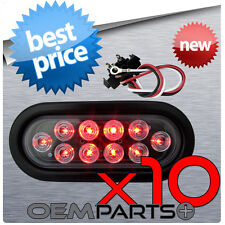 """10X NEW 6"""" RED LED OVAL SEALED TURN SIGNAL STOP TAIL LIGHT TRUCK TRAILER RV PLUG"""