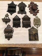 VINTAGE MATCH HOLDERS WOOD, TIN, & CAST IRON. SOLD AS SINGLES, NOT AS ONE LOT