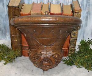 Antique Black Forest Carved Wood German Wood Corbel Shelf Bracket Wall Mount