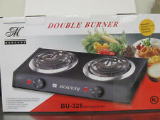 Double Burner Electric Stove Portable Steel Cover Small Hot Plate