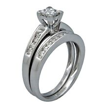 .5ct Princess Round Cut Channel Invisible Set Bridal Wedding Ring 14K White Gold
