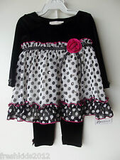 Bonnie Baby Sparkled Top and Velvet Pant 2PC Set Girls 6-9 Months NWT G82540