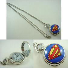 DC SUPERMAN Girl Women Ladies Men Boy Child Fashion Pocket Watch Necklace +CHARM